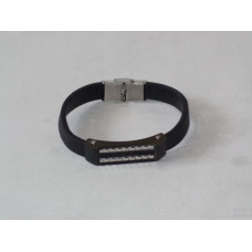 Leather Bracelet with Black Plate for man