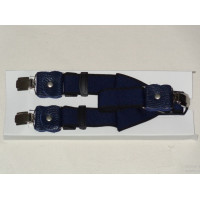Blue Leather Suspenders for Men