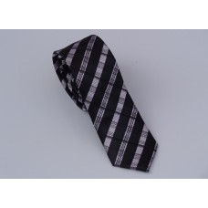 Slim Men's Tie with grey and black stripes