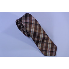 Slim brown tie with stripes