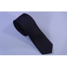 Slim black tie with white points