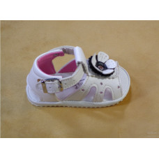 White Sandal with Black Rose for Baby