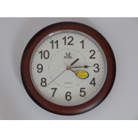 Quartz wall clock / Pearl / Brown