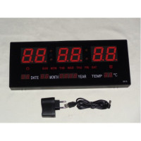 Electrical Wall Clock with Red Led Light
